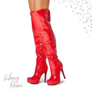 JustFab | Vetria Heeled Red Patent Boot w/Gift - 6
